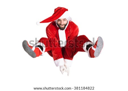 Santa Claus jump  - stock photo
