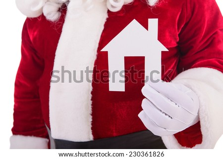 Santa Claus keeps paper house isolated - stock photo