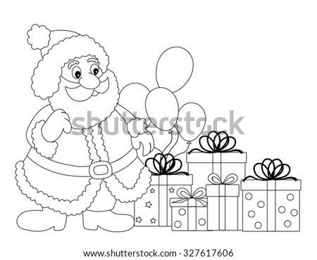Santa Claus line art with gifts and balloons for kids coloring books - stock photo