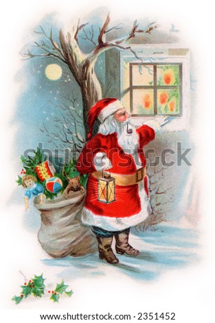 Santa Claus looking into a cottage window on Christmas eve - a circa 1910 vintage illustration. - stock photo