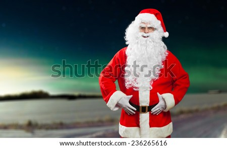 Santa Claus lost in the Lapland - stock photo
