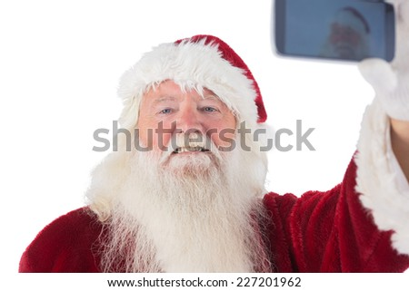 Santa Claus makes a selfie on white background