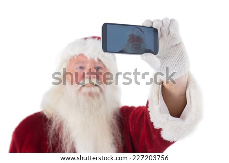 Santa Claus makes a selfie on white background - stock photo