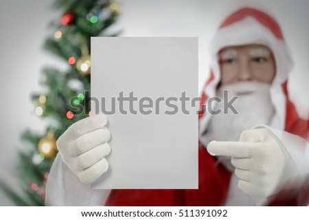Santa claus offer notes christmas wishing list