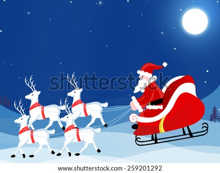 Santa Claus on a sledge with cute white reindeer s Christmas greeting card / Wallpaper / background - stock photo