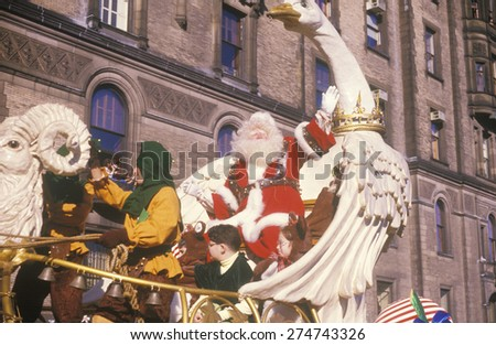 Santa Claus on Float, Macy's Thanksgiving Day Parade, New York City, New York - stock photo