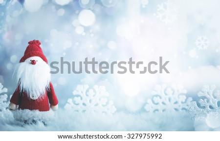 Santa Claus on snow.Christmas card. - stock photo