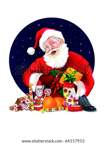 Santa Claus or Nikolaus with sweets and gifts - pencil illustration - stock photo