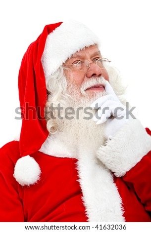 Santa Claus pensive isolated over a white background