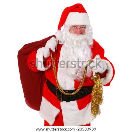 Santa Claus pointing finger - stock photo