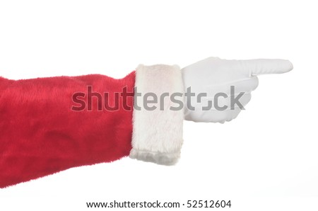 Santa Claus pointing his fingers isolated over white. Hand and arm only in horizontal format. Image can be rotated in any direction to fit your design. - stock photo
