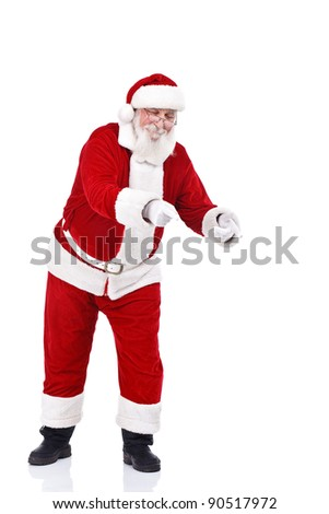 Santa Claus pointing with both hands in copy space, isolated on white background - stock photo