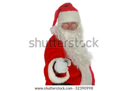Santa Claus points directly at YOU the Viewer isolated on white with room for your text - stock photo