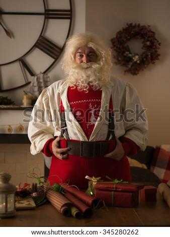 Santa Claus Portrait at Home.  - stock photo