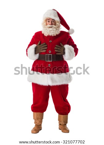 Santa Claus Portrait. Confused and hurry - stock photo