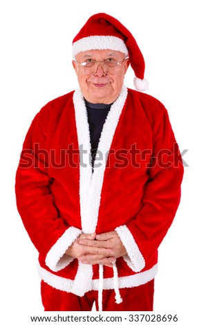 Santa Claus Portrait with glasses. Standing Front View.  Isolated on white background - stock photo