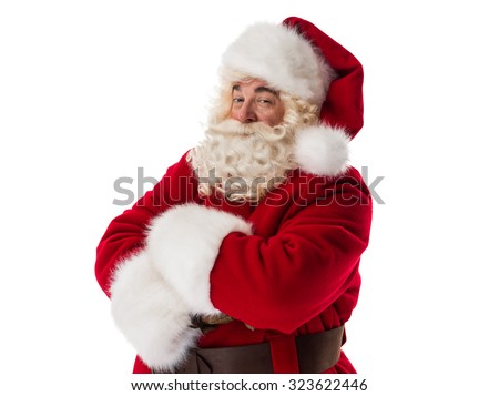 Santa Claus Portrait with hands crossed Isolated on White Background - stock photo