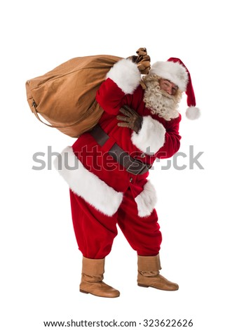 Santa Claus Portrait with sack Isolated on White Background - stock photo