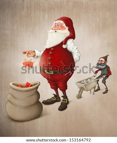 Santa Claus prepares gifts to Christmas night - stock photo