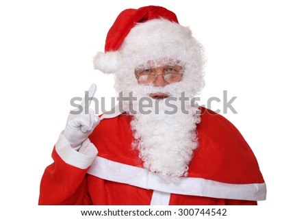 Santa Claus raising his hand Christmas portrait isolated on a white background