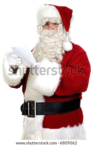 Santa Claus reading a letter over white background