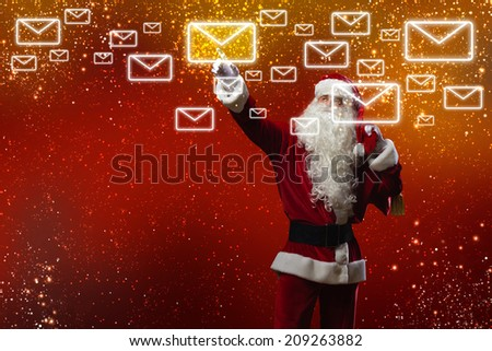 Santa Claus reading children letters with wishes