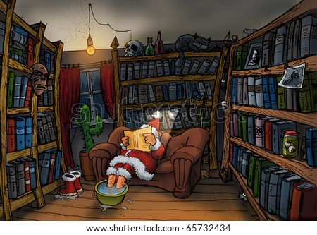 Santa Claus reads a book, illustration - stock photo