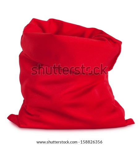 Santa Claus red bag, isolated on white background. - stock photo