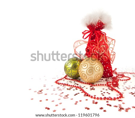 Santa Claus red bag with Christmas toys on white background - stock photo