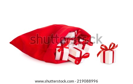 Santa Claus red bag with gifts, isolated on white background. - stock photo