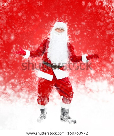 Santa Claus red christmas background, hold open palm glove empty copy space, concept new year sale shopping abstract winter snow - stock photo