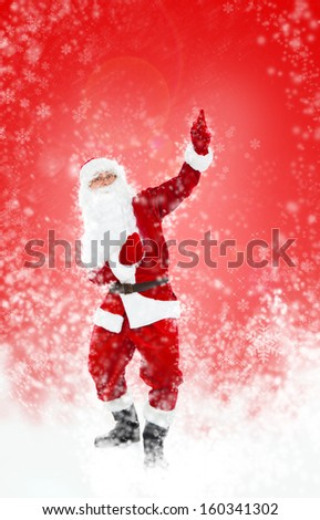 Santa Claus red christmas background, point finger up glove empty copy space, concept new year sale shopping abstract winter snow - stock photo