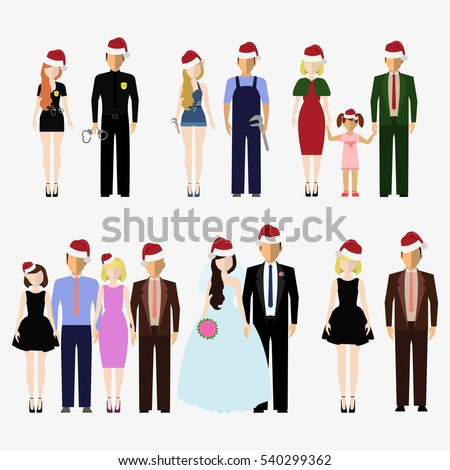 Santa Claus red hat on different people. Men and women, boys and girls wearing Santa hat. Happy New Year and Merry Christmas. Clothes holiday elements. Isolated flat  illustration set.