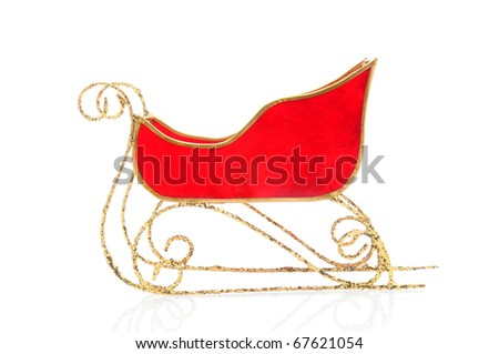 Santa Claus Red Sleigh with gold runners and trim isolated on white with reflection. - stock photo