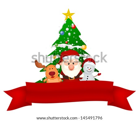 santa claus, reindeer and snowman with christmas tree and red ribbon