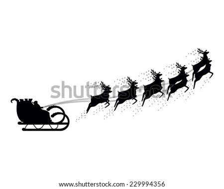 Santa Claus rides in a sleigh in harness on the reindeer  - stock photo