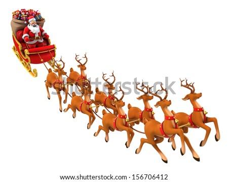 santa claus rides reindeer sleigh on christmas - Santa Claus And Reindeers