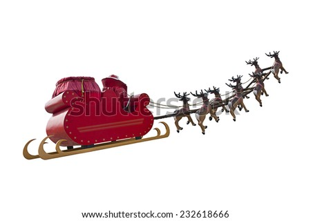 Santa Claus riding a sleigh in a day light led by reindeers isolated on white background - stock photo