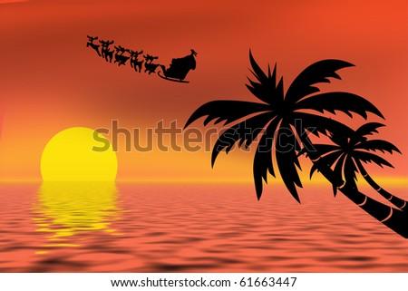 Santa Claus riding his sleigh over a tropical ocean - stock photo