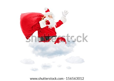 Santa Claus seated on cloud holding a bag full of presents and gesturing isolated on white background - stock photo