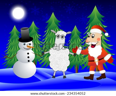 Santa claus, sheep and snow man  in the winter forest,  illustration