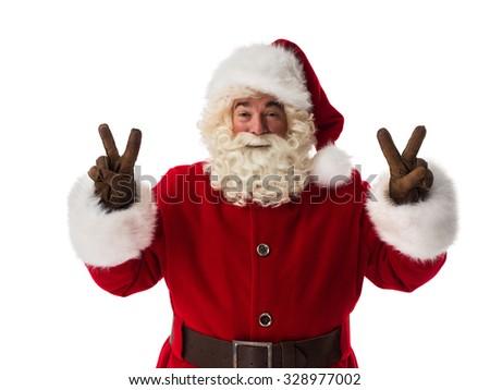 Santa Claus showing victory or peace gesture Closeup Portrait - stock photo