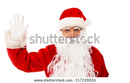 Santa Claus showing with gestures something isolated on white background