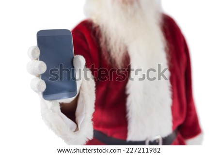 Santa Claus shows a smartphone on white background - stock photo