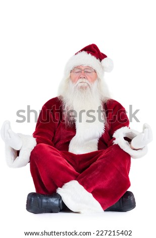 Santa Claus sits and meditates on white background - stock photo