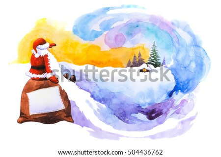 Santa Claus sitting on a bag and looking into the horizon. Christmas background