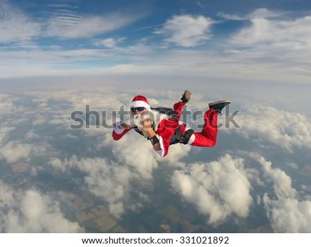 Santa Claus Skydiver - stock photo