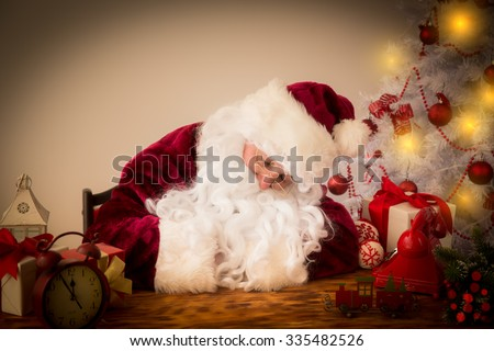 Santa Claus sleeping. Christmas holiday concept - stock photo