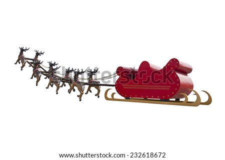 Santa Claus sleigh led by reindeers going to pick Santa Claus up - isolated on white background - stock photo