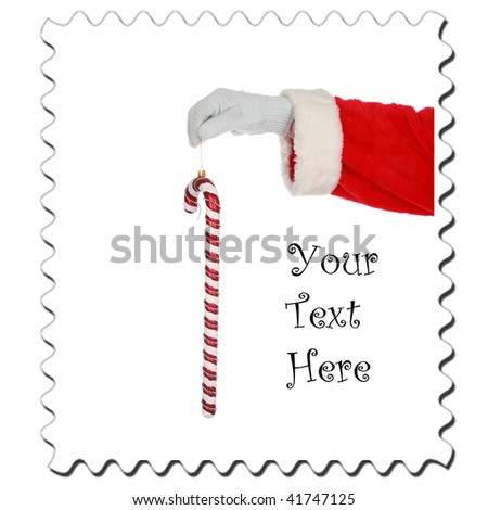 Santa Claus Stamp, isolated on white with room for your text - stock photo